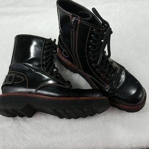 Coach Sz 6.5 Black Leather Moto Hiker Boots